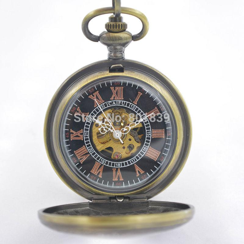 See Though Bronze Tone Case Antique Vintage Style Roman Number Dial ...