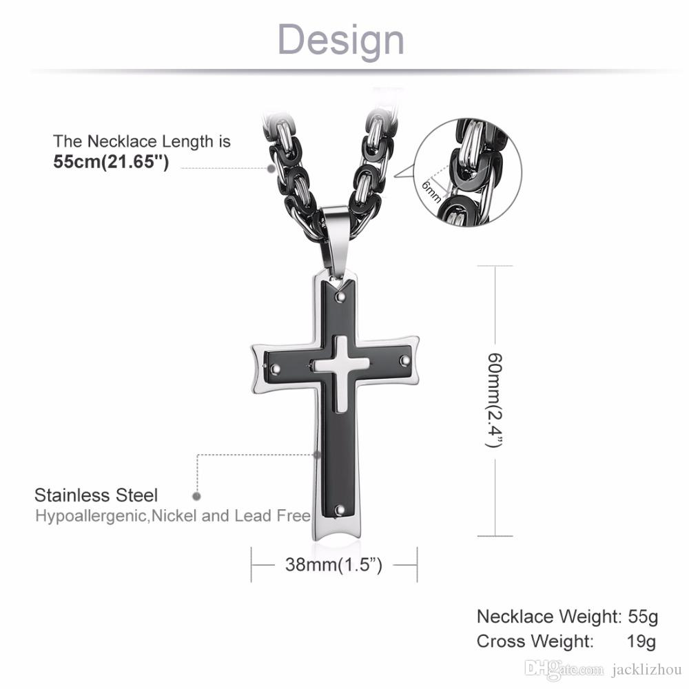 Croix pendentif collier nouveaux bijoux de mode cadeau masculin à la mode en acier inoxydable 21.65