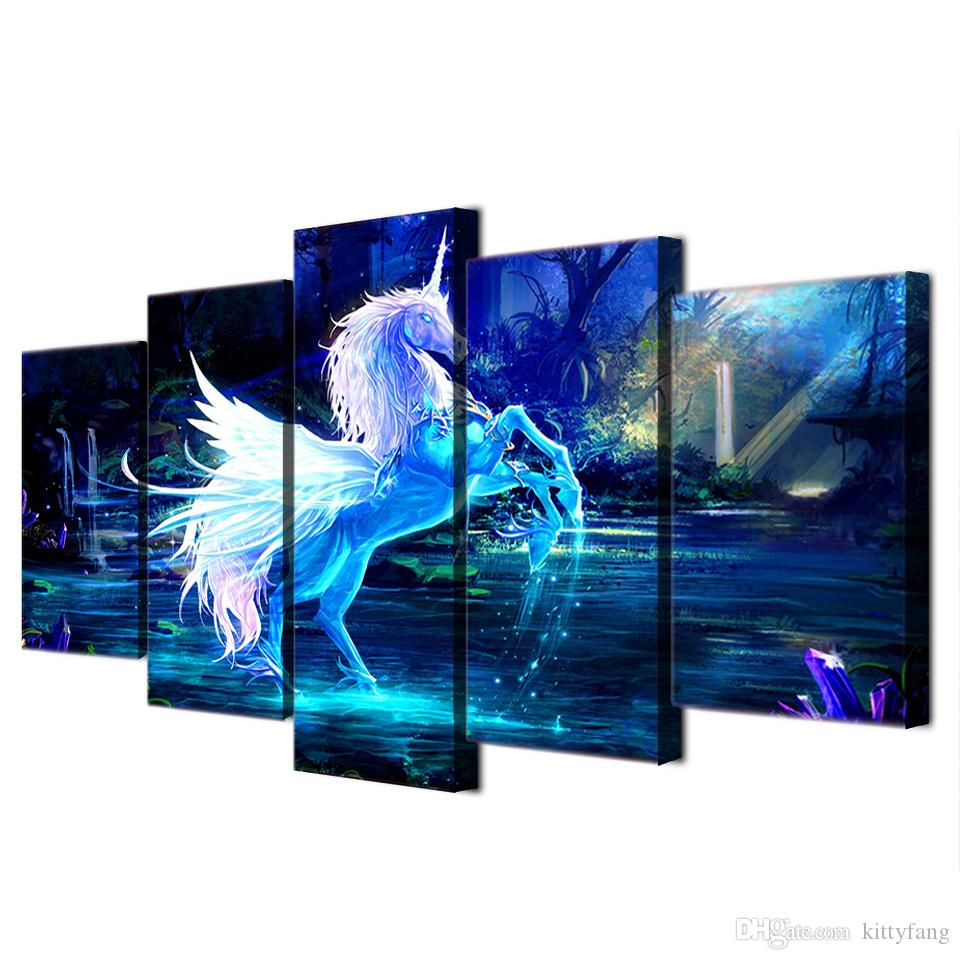 Modern Canvas Painting Figure Painting 3D White Horse Artworks Home Decor Picture Poster Prints
