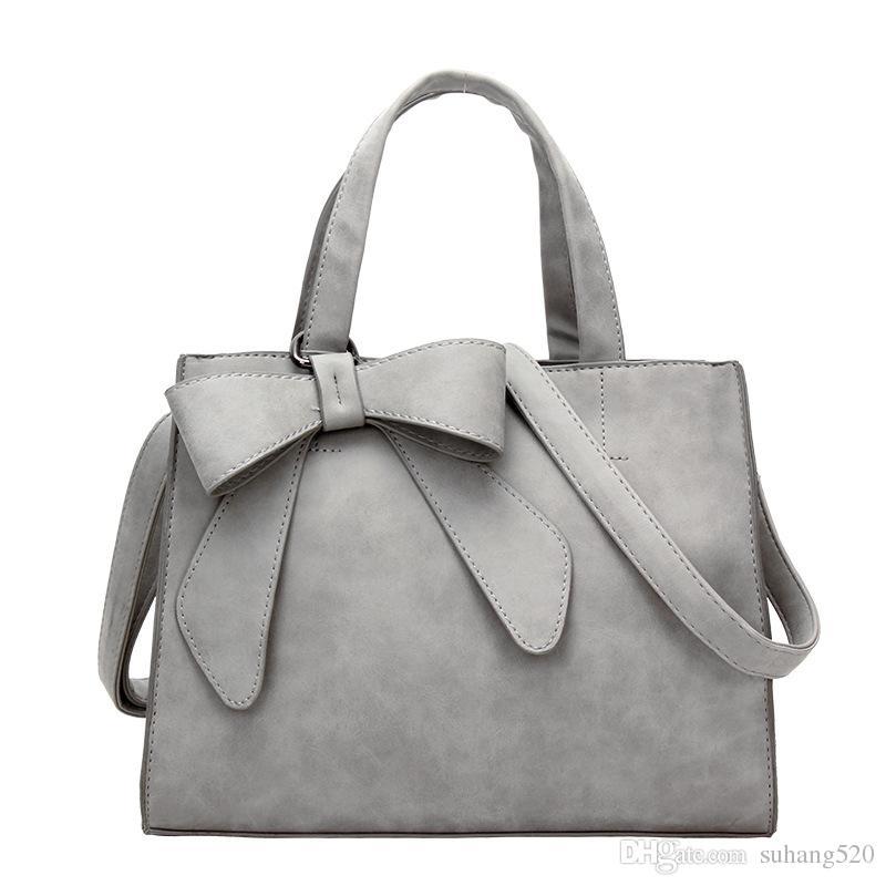 Female Handbags 2018 New Pu Leather Fashion Bow Scrub Female Bag Handbag  Generous Package Simple Shoulder Messenger Bag Satchels Leather Purses From  ... c35b75599e184