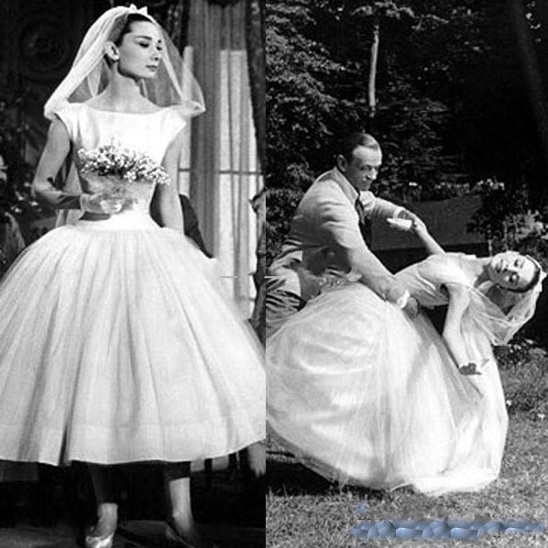 Discount Custom Made Vintage Audrey Hepburn Wedding Dresses With ...