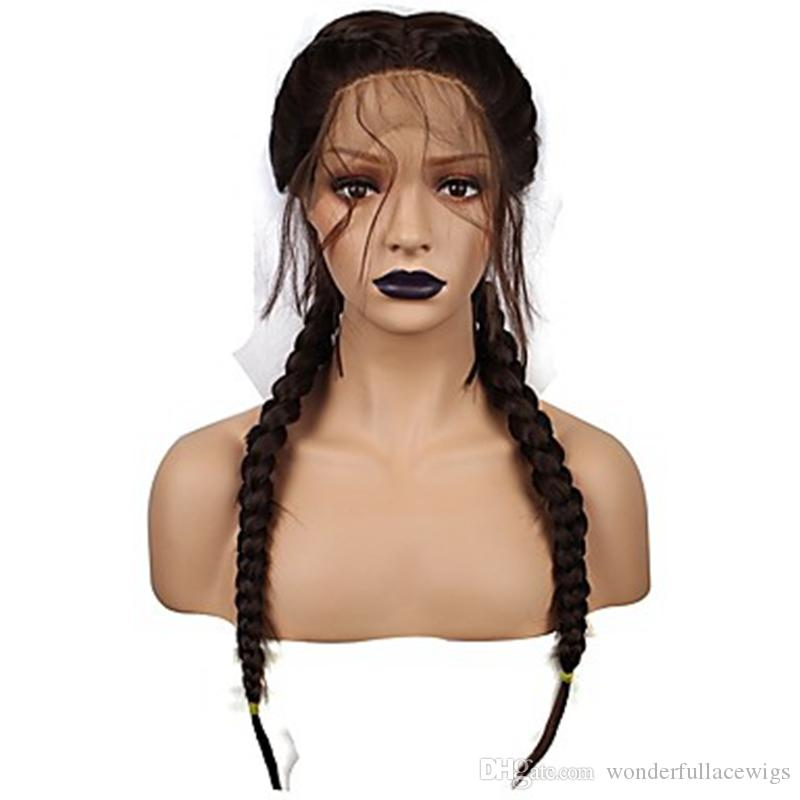 synthetic micro box braid lace front wig with heat resistant fiber long Brazilian african american black woman with baby hair