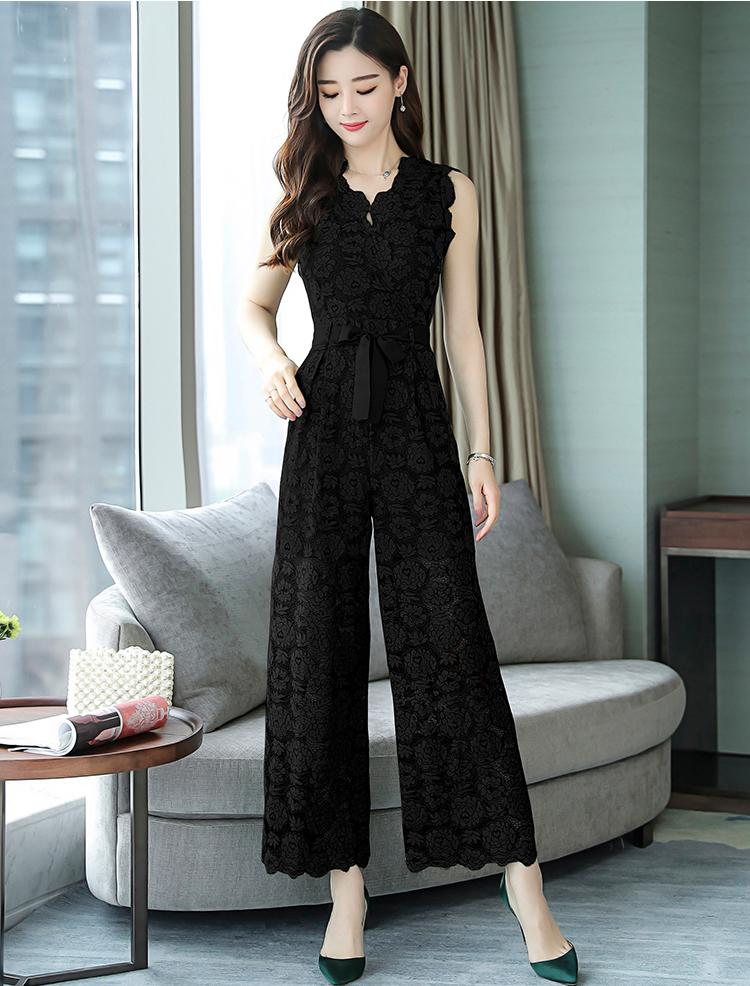 Women's Summer Hollow Out Floral V-Neck Wide Leg Lace Jumpsuits 2018 New Arrival Elegant High Waist Jumpsuits Hots Sales S85404F