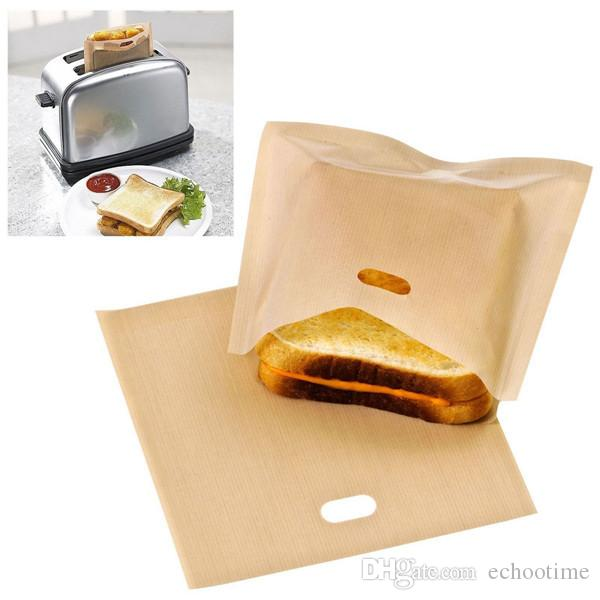 2018 PTFE сэндвич тостеры хлеб торт мешок многоразовые антипригарным выпечки мешок барбекю микроволновая печь фри отопление мешок барбекю сумки 16 * 16.5 см