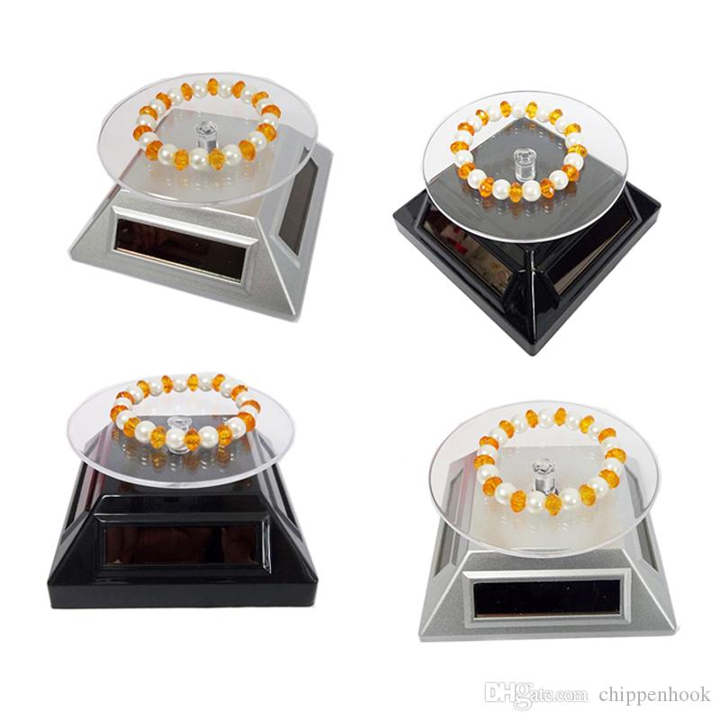 Silver Solar and AAA battery 2-way powered 360 Rotating Cell Phone Stand Jewelry Watches Bracelet Diamond Turntable Plate Display Stand