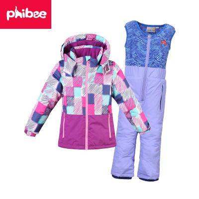 2018 PHIBEE Boy Girl Ski Suit Waterproof Windproof Hooded Jacket And Pant  Thermal Little Kid Ski Snowboard Bid Children Clothing Boy Girl Ski Suit ... d87ecb838