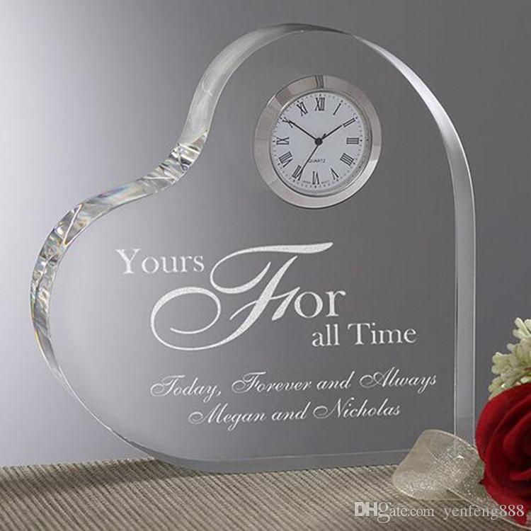 2019 Personalized Heart Shaped Crystal Desk Clock For Wedding