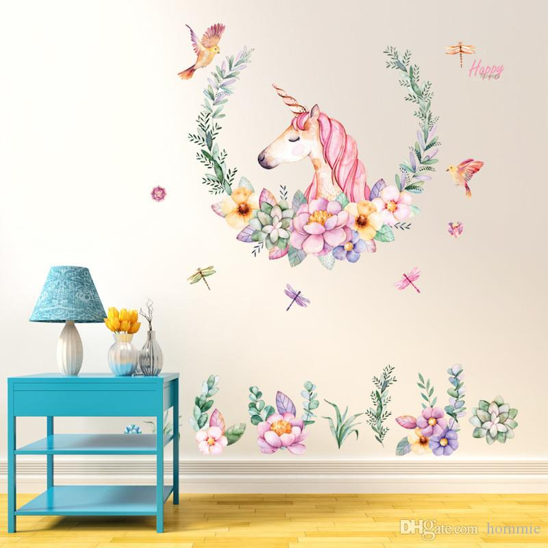 Beautiful Unicorn Flower Wall Sticker Quote Art DIY Decal Home Decor Kids Room Mural Party Supplies 60*90cm
