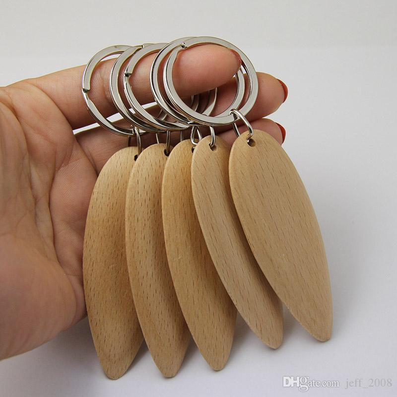 Wholesale Blank Leaf Wooden Key Chain DIY Promotion Customized Key Tags Promotional Gifts -