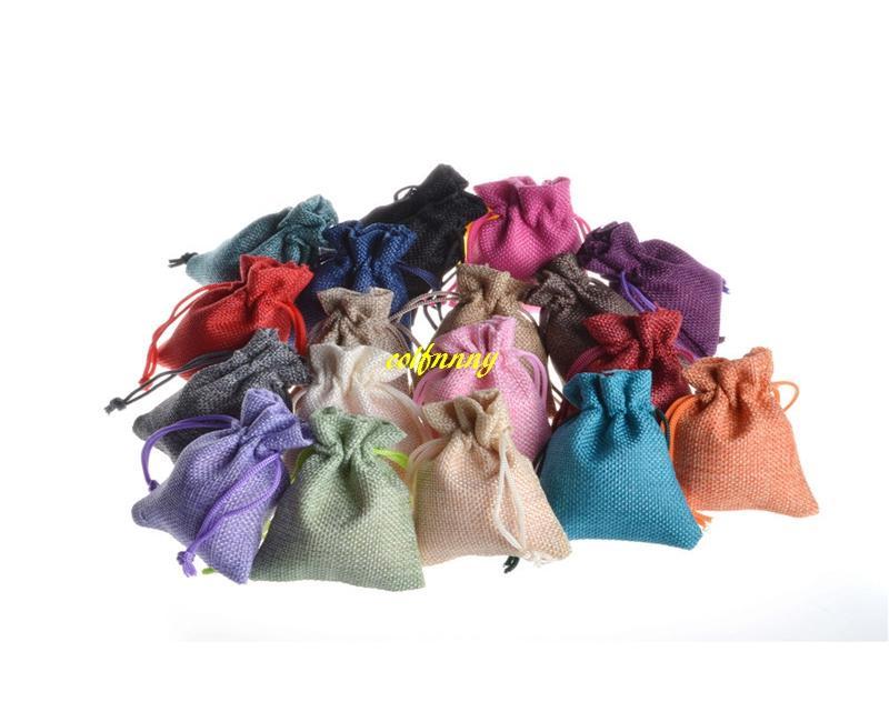 1000 unids / lote envío RÁPIDO 7 * 9 cm 10x14 cm Favor de la boda de Navidad de arpillera bolsas de regalo de yute de colores con cordón
