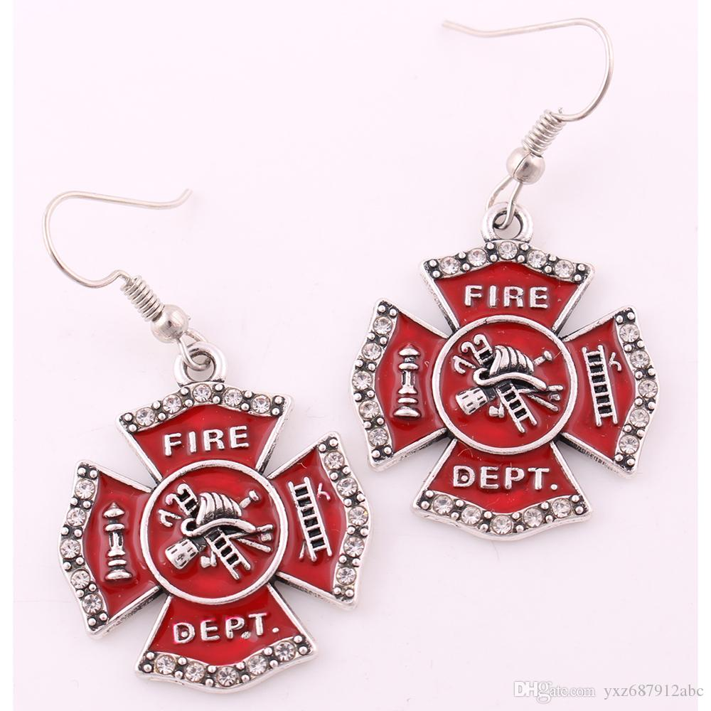 Firefighter Fire Dept Badge Red Enamel Cross Crystals Pendant Earring For Personalized Profession Jewelry Making Free Shipping