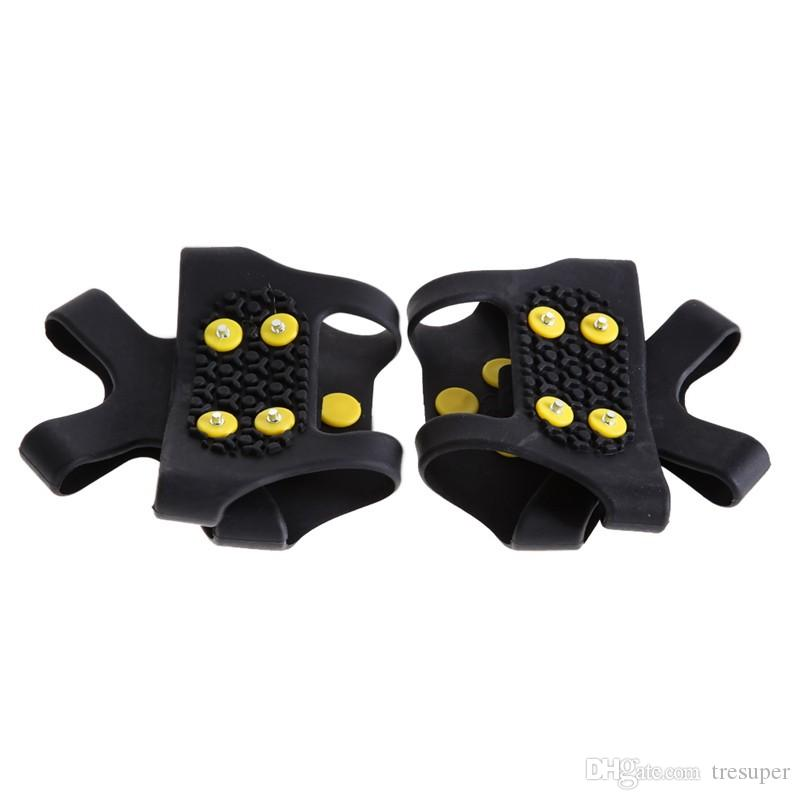 S M L XL 4 Size 10 Studs Anti-Skid Ice Winter Climbing No Slip Snow Shoes Spikes Grips Cleats Over Shoes Covers Crampons
