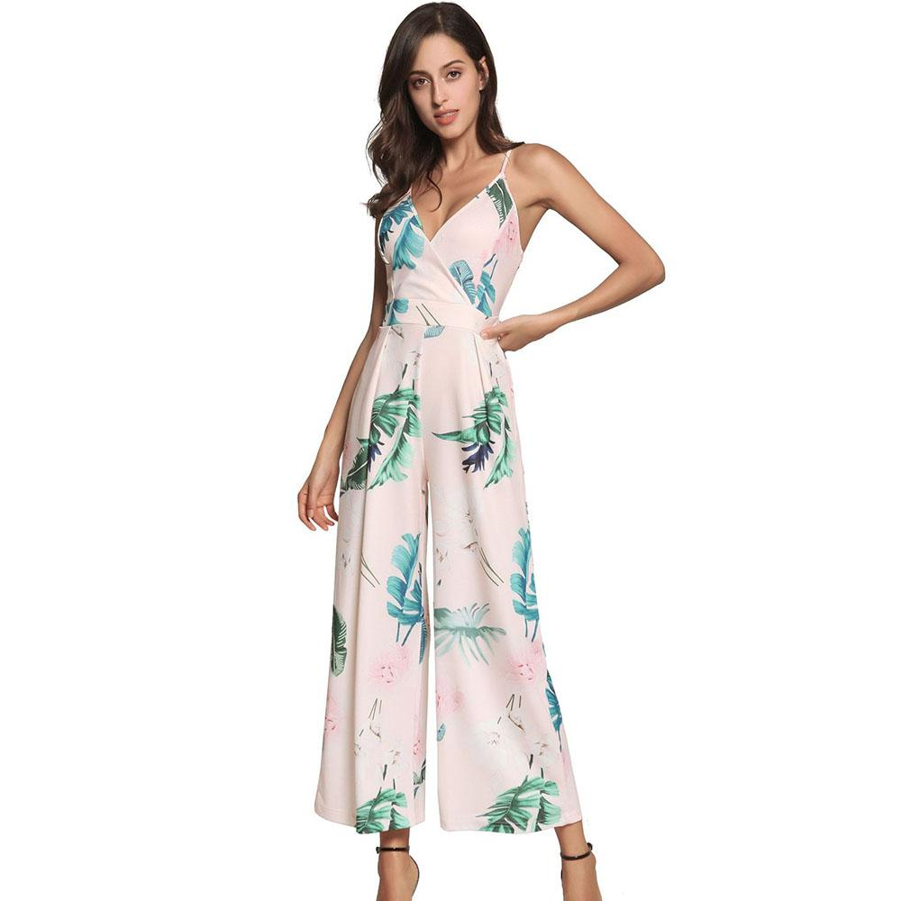 fc9155216333 2019 Plus Size Pink Floral Print Jumpsuit Spaghetti Strap Triangulo V Neck  Rompers High Waist Jumpsuits Women Wide Leg Pants Trousers From Hongxigua