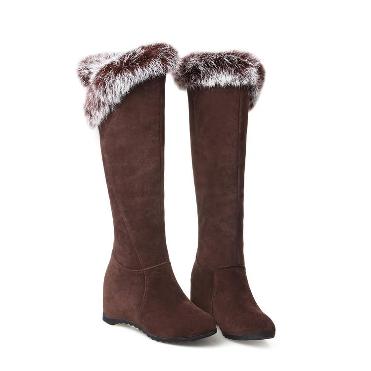 Plus size 34 to 40 41 42 43 wine red invisible wedge heel fur knee high boots synthetic suede