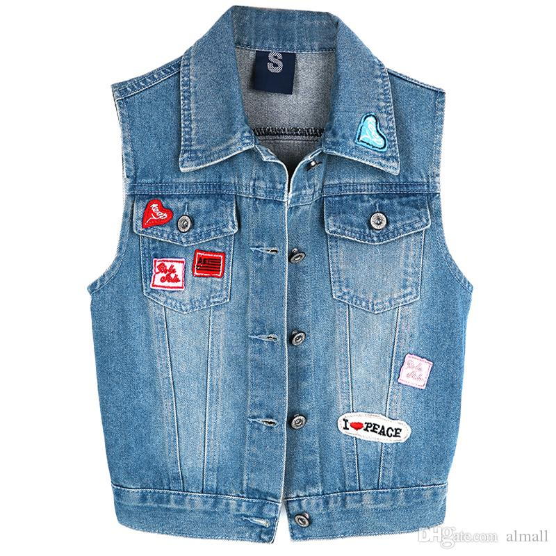 website for discount diversified in packaging details for Women Denim Vest 2018 New Summer Style Cardigan Lady Blue Denim Jean Vests  Top Coats Jeans Tops Women High Quality Vests Jackets