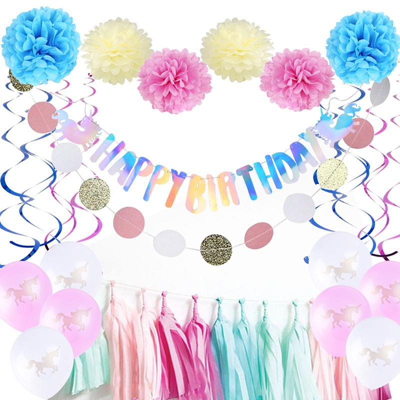 Unicorn 1st Birthday Party Decorations Supplies Happy Banner Bunting Paper Fan Pom Flower For Kids