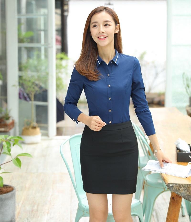 ead65fb24 Compre 2 Piezas Conjuntos Mujeres Falda Y Blusas Conjuntos Camisas Azules Tops  Trajes De Negocios De Las Señoras Uniformes De Oficina Estilos A  51.68 Del  ...