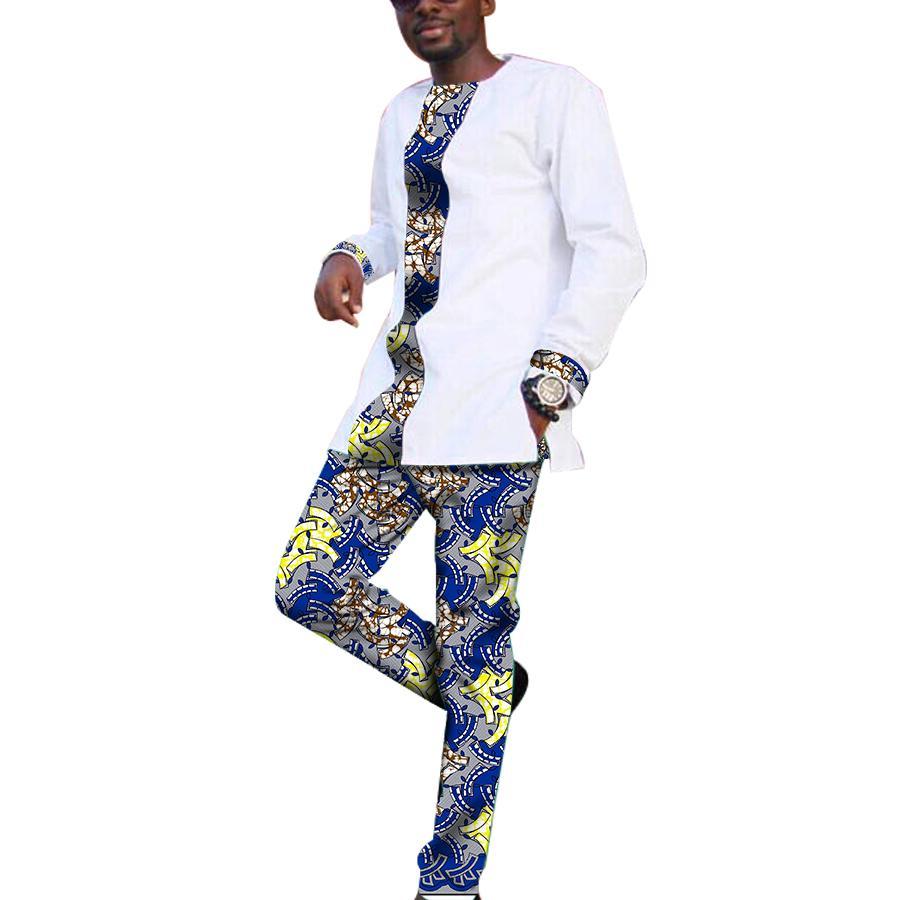 Herren TopsHosen Großhandel Mode Patchwork Set Sets Afrikanische bm6vYgf7Iy