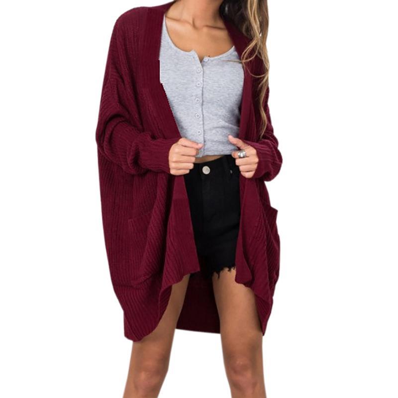 9971a150d Compre Ponto Aberto Mulheres Camisola De Malha Cardigan Feminino Tricô  Blusas De Inverno Quente Plus Size Casual Outfit Bolsos Outono Top GV141 De  ...