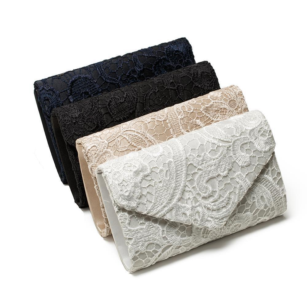 Women Lace Evening Bag Satin Bridal Ladies Clutch Party Envelope Bag Handbag Purse
