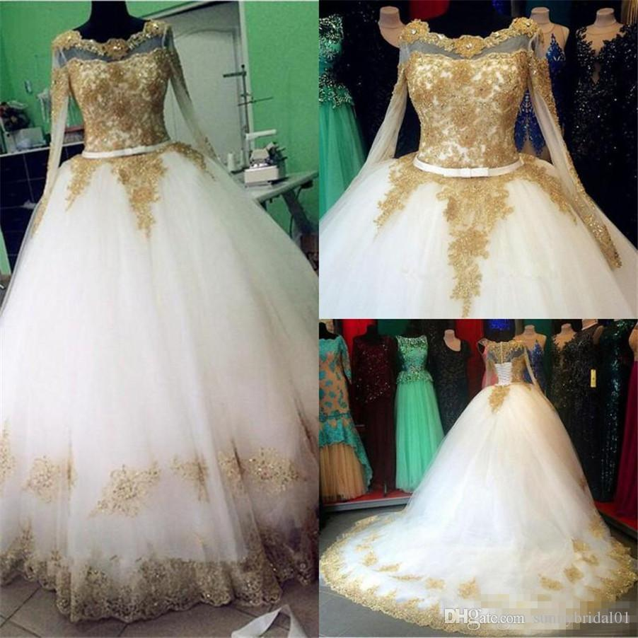 17756d32c06 Discount Bling Bling Sequin Beads Illusion Long Sleeve Bridal Gowns Luxury  2018 With Gold Lace Appliqued Ivory Tulle Ball Gown Wedding Dresses Lace  Wedding ...