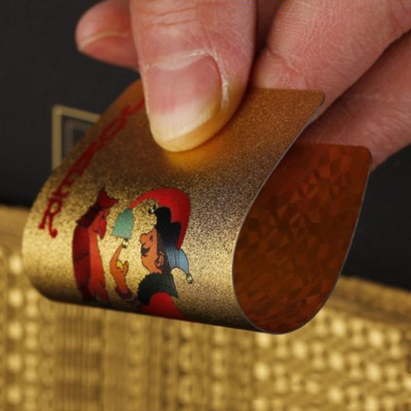24K الذهب أوراق اللعب لعبة البوكر على سطح السفينة الذهب احباط بوكر مجموعة بطاقات بلاستيكية ماجيك بطاقة ماء السحر
