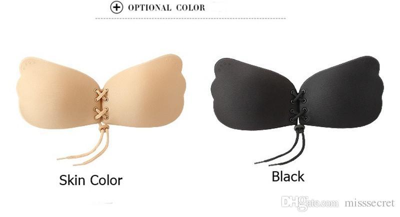 فراشة الجناح غير مرئية داخلية سلس مثير جمع رفع البرازيلي ملابس داخلية أسود لون البشرة سيليكون لاصق عارية الذراعين حمالة الصدر