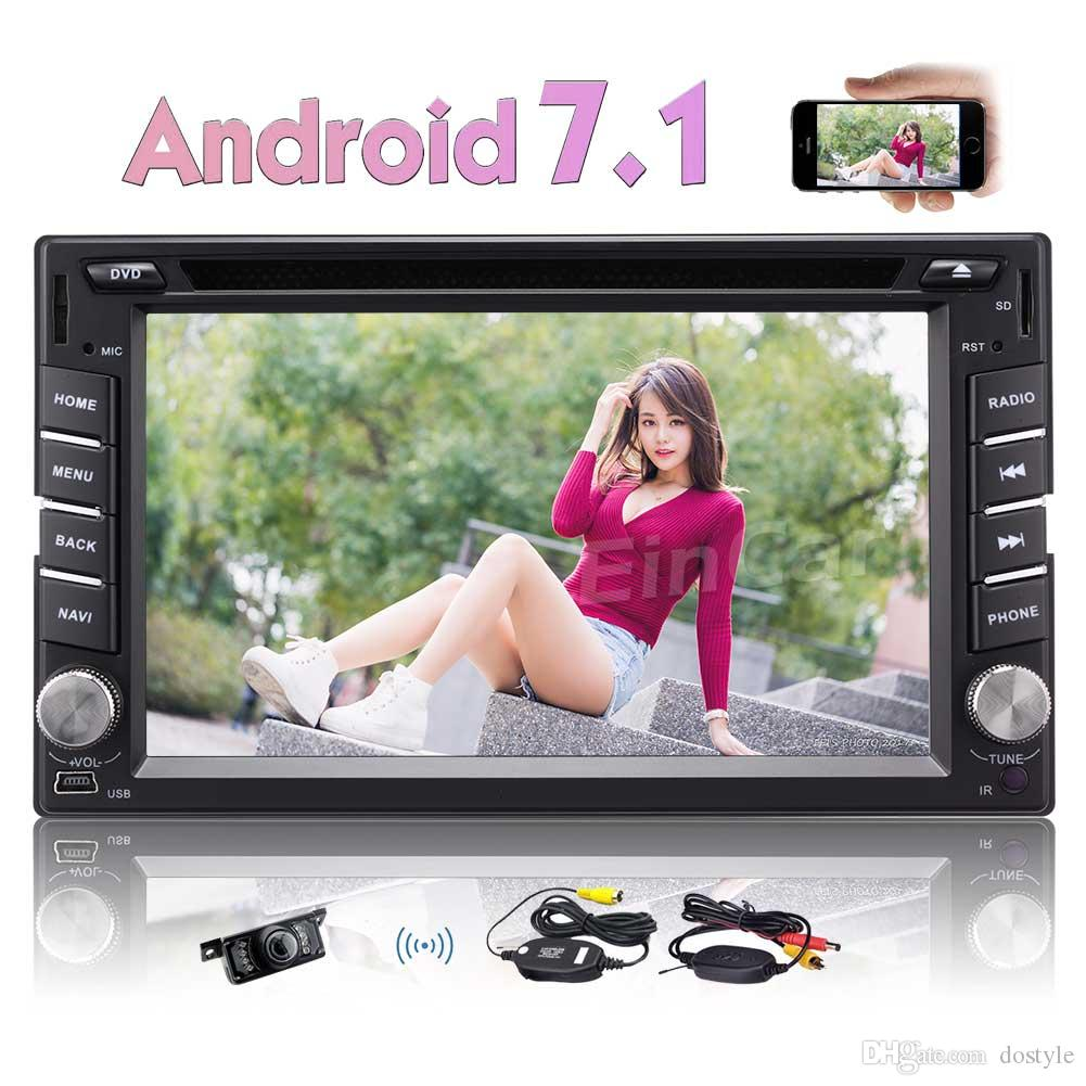 Wireless Backup Camera Double Din Car Stereo Android 7.1 Autoradio car DVD Player GPS Bluetooth Mirror Link FM/AM Radio AUX Video