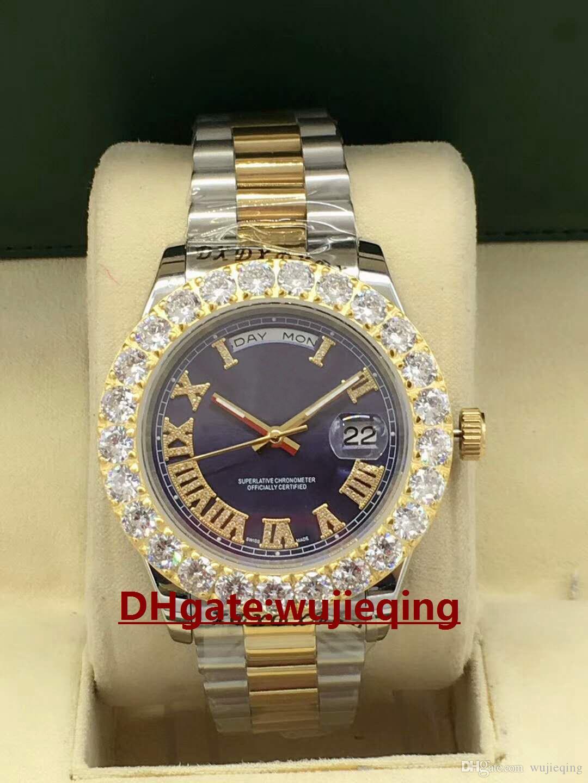 bbe91b7012f6 Compre Top Marca De Lujo Avanzado Movimiento Automático Anillo De Diamantes  En Forma De Garra De Oro Esfera Romana 44 Mm Espejo De Zafiro 228238 Reloj  De ...