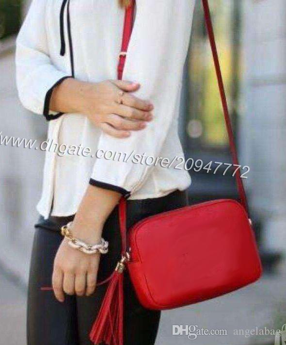 dd65e986cb9 Top Quality Classic Brand Soho Tassel Handbag 308364 Women S Black Calfskin  Leather Disco Bag Red Shoulder Bag 21cm Hot Popular Wholesale Bags Over The  ...