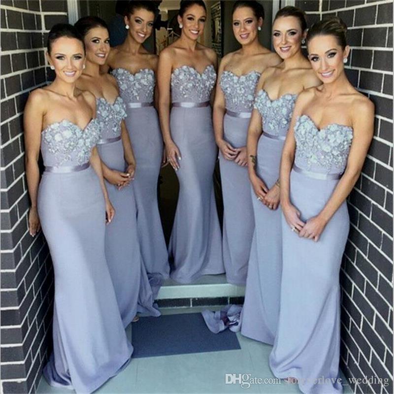 2018 Sereia Vestidos de Dama de Honra Sexy Querida Frisada Lace Apliques Maid of Honor Vestido Lace Up Sweep Train Plus Size Vestido de Convidado Do Casamento