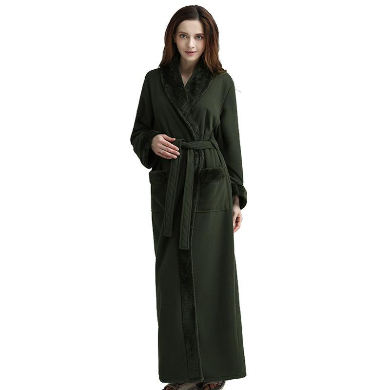 856fb747058a 2019 Flannel Women Men Sleepwear Army Green Robe Thick Warm Winter Shower  Spa Robe Bath Bathrobe Nightgown Men Dressing Gown From Hongyeli