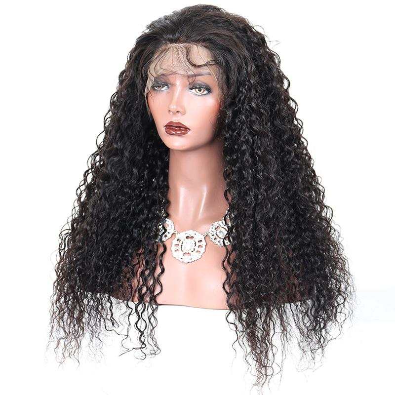 High Quality Brazilian Virgin Human Hair Kinky Curl Black/Dark Brown Natural Color Glueles Full /Lace Wigs For African American Women
