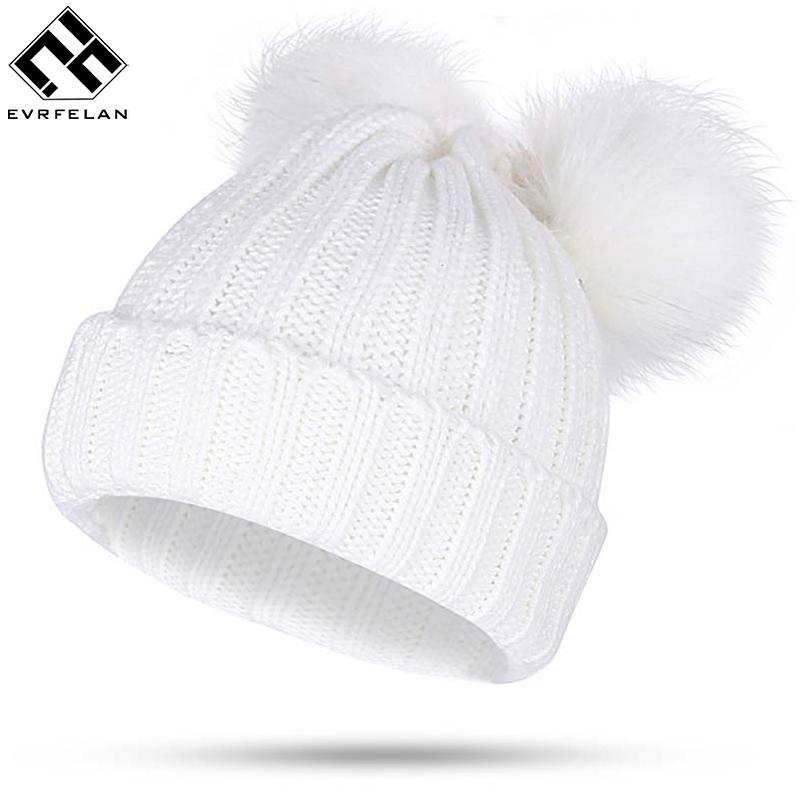 Winter Fur Ball Cap 2 Pom Poms Winter Hat For Women Girl  S Hat Knitted  Cotton Pom Poms Skullies Beanies Thick Female Warm Hats Online Caps From  Amsunshine 0542517afc2