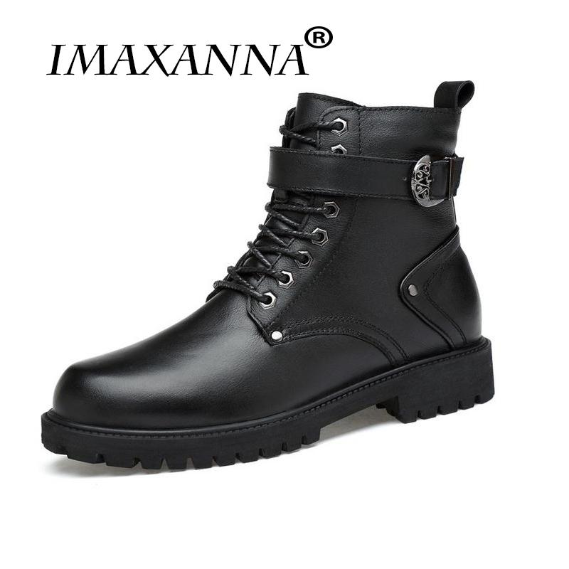 7408e93206d IMAXANNA Army Boots Men High Combat Boots Metal Buckle Punk Mid Calf Male  Motorcycle Lace Up Men s Shoes Rock