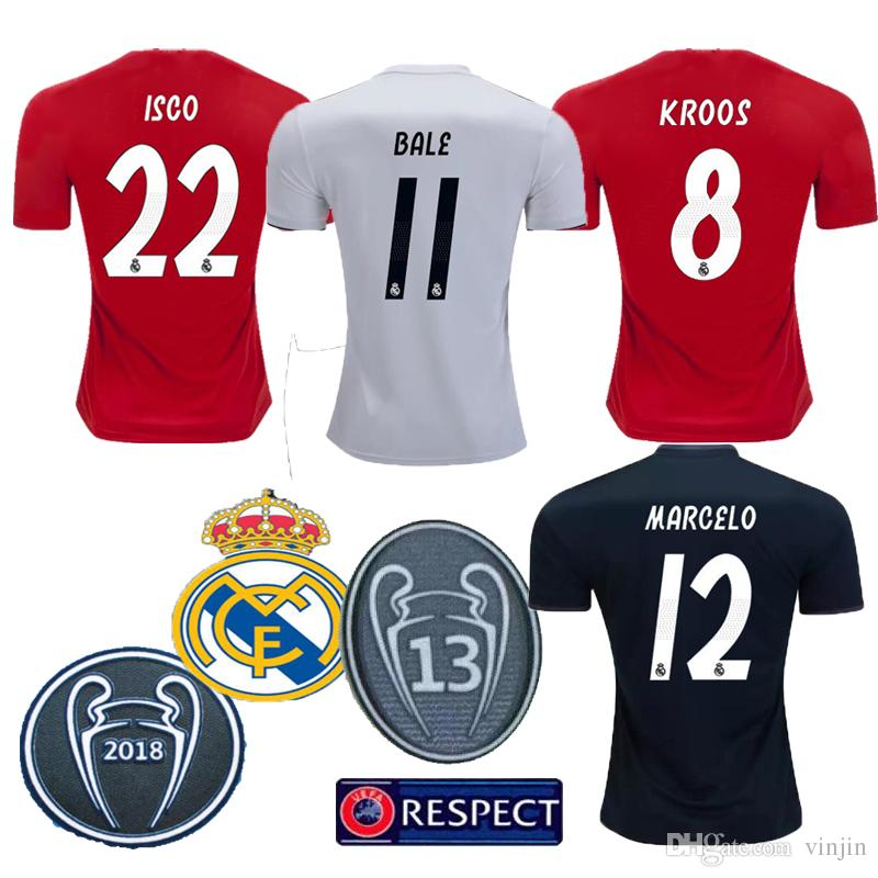 a82b3317c79 ... authentic real madrid 18 19 home away third football shirts 9 benzema 8  kroos 4 sergio ...
