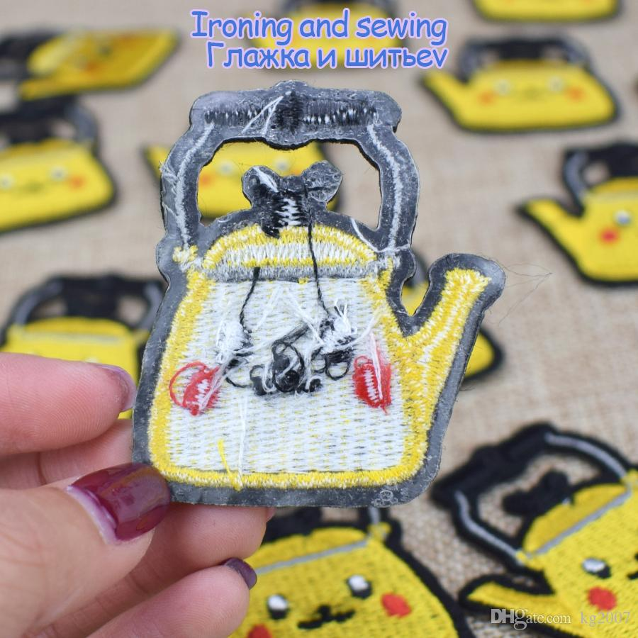 Diy Cartoon Teapot Patches for Decals Retro Patch Decoration Garment Fabric Badge Jacket Sweater Stitch Patch for Clothes Accessories