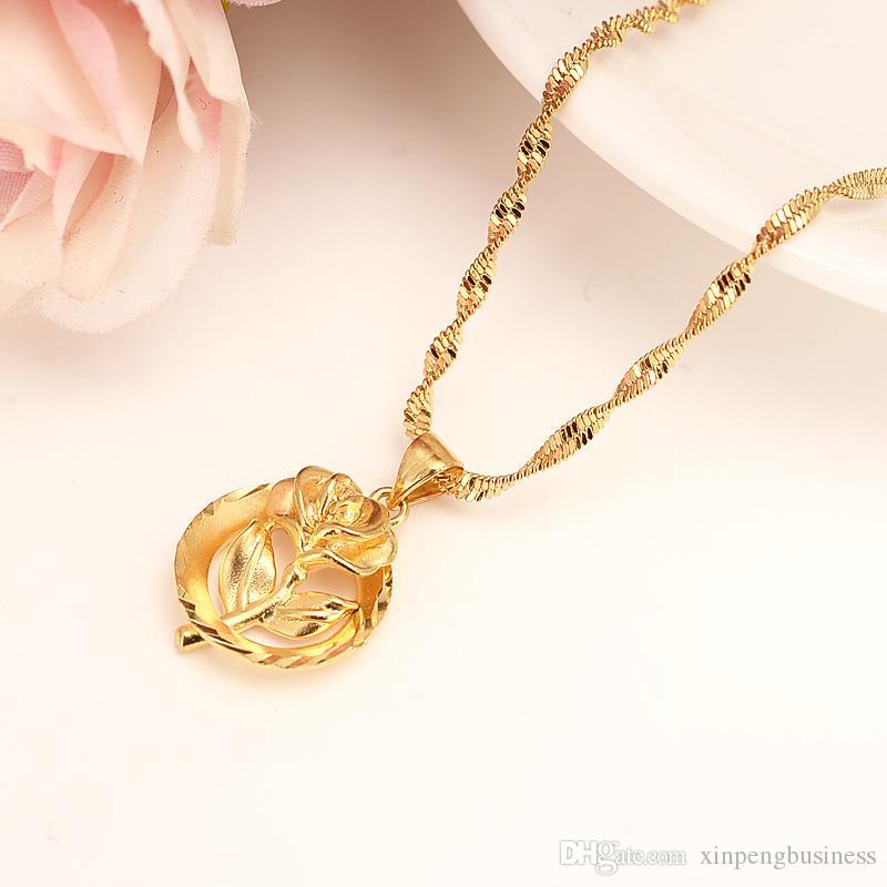 Dubai PENDENTE Collana Pendente Donne 24k Fine Solid Oro Giallo GF ragazze gioielli partito Africa / Arabrose Sweetheart rosa Regali di fiori