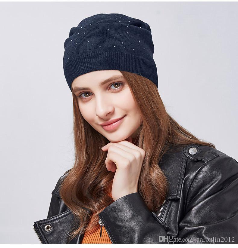 Compre Sombrero De Invierno Para Mujer De Punto Gorros De Lana Para Mujer  Moda Skullies Casuales Casquillos De Esquí Gruesos Sombreros Calientes Para  Las ... 7bcccb5b3c3