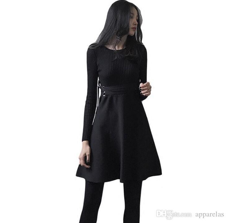 the latest 82088 14cef Nuovi abiti invernali da donna Hepburn vestito nero piccolo vestito a  maniche lunghe con maniche lunghe autunno e inverno una gonna parola era  sottile
