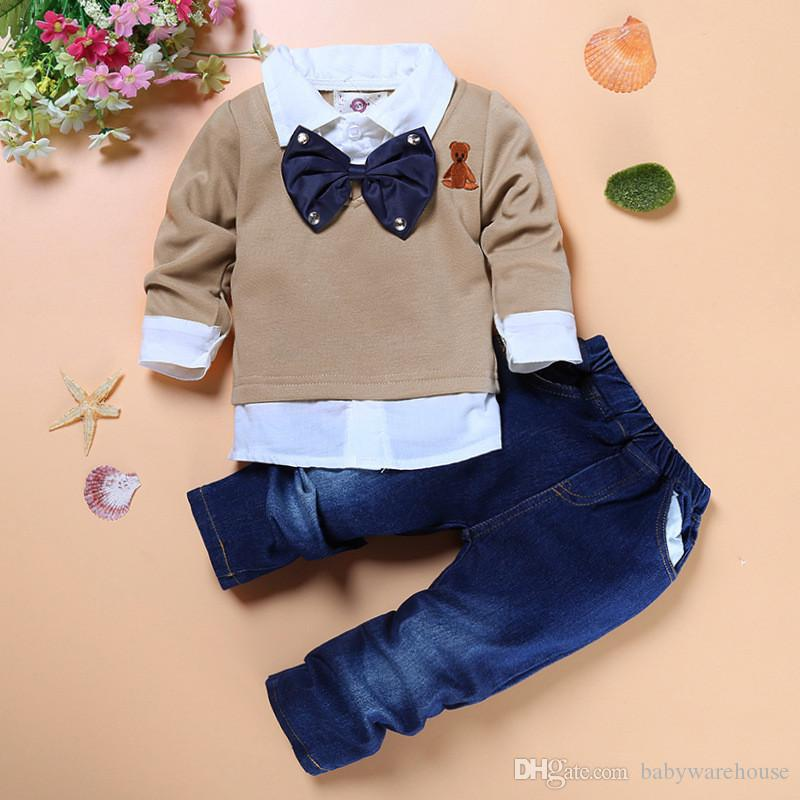 Kids Clothing Sets for Boys Gentleman Bow Tie Fake Two Piece Shirt +Handsome Jeans 2pcs High Quality Boys Boutique Clothes Children Boy Suit