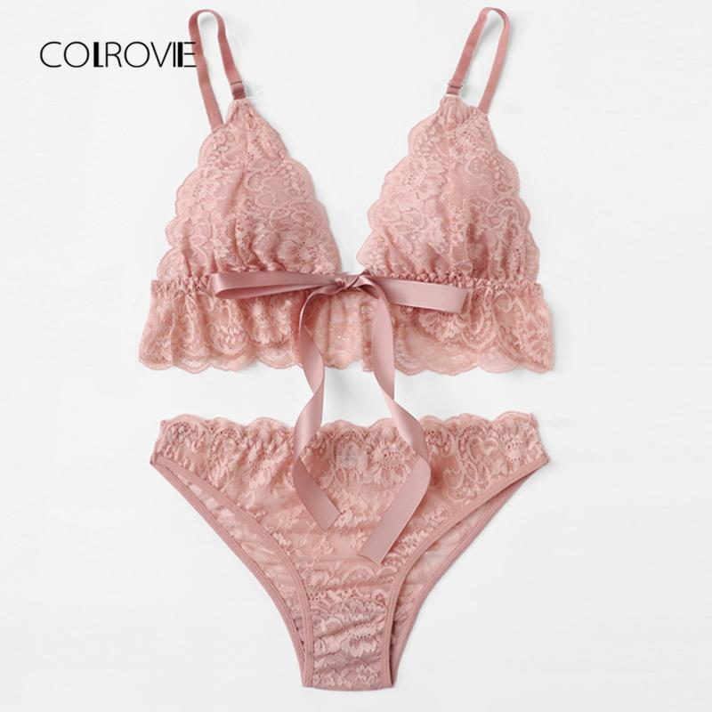 b7e91d54af COLROVIE Pink Wireless Scalloped Trim Lace Lingerie Set 2018 New Summer Bow  Tie Sexy Women Bra   Brief Sets Loral Underwear Set UK 2019 From Lucu