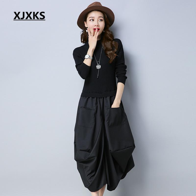a250f15f502c 2019 XJXKS Originality Unique Patchwork Design Fit And Flare Women Sweater  Dresses Long Sleeve Loose Pockets Casual Dress C18110701 From Shen8407