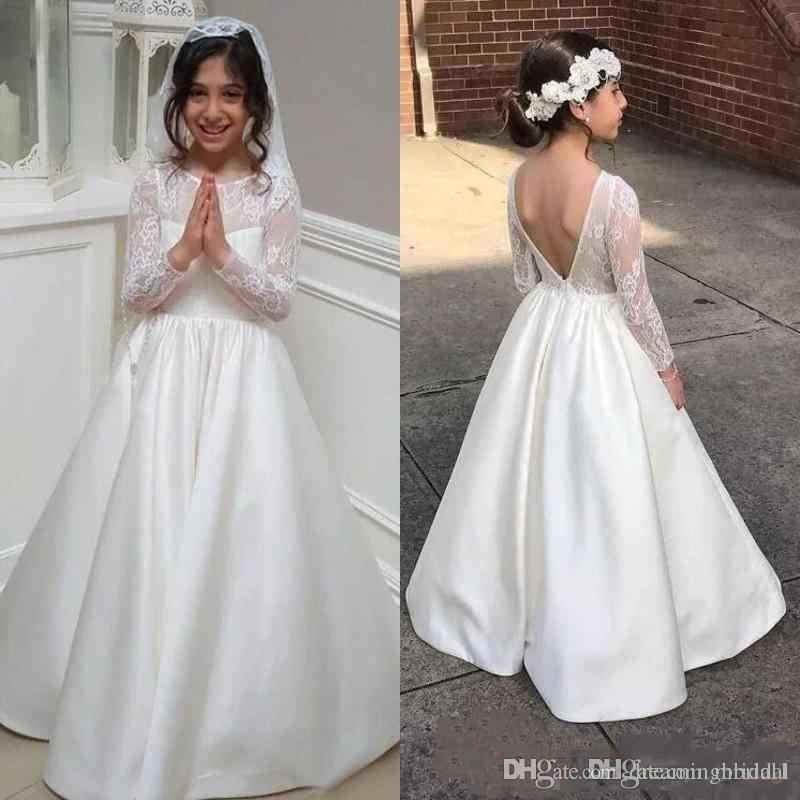 45dd7cade3 Abiti da ragazza a fiori a maniche lunghe bianchi per abiti da sposa 2018  Nuovi abiti da cerimonia a maniche lunghe in pizzo senza schienale Una  linea ...