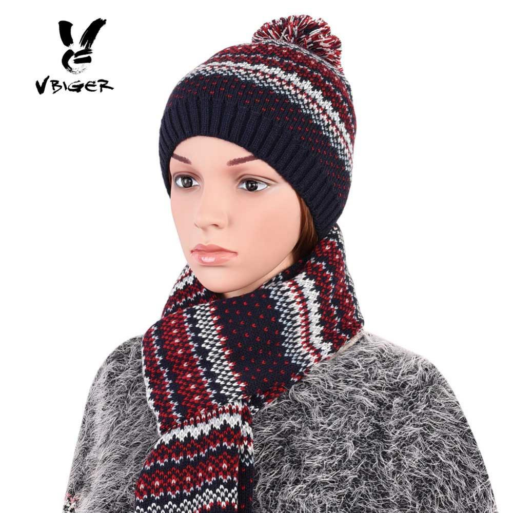7813b752c39 Vbiger Women Hat Winter Warm Knit Hat Skullies Beanie Thicken Solf Fleece  Lining Cap With Scarf Outdoor Ski Bonnet Crochet Baby Hats Ladies Hats From  ...