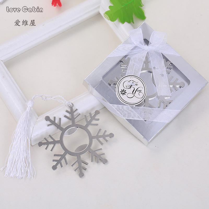 Newest Silver Snowflake Bottle Opener Gift Box Wedding Favors And