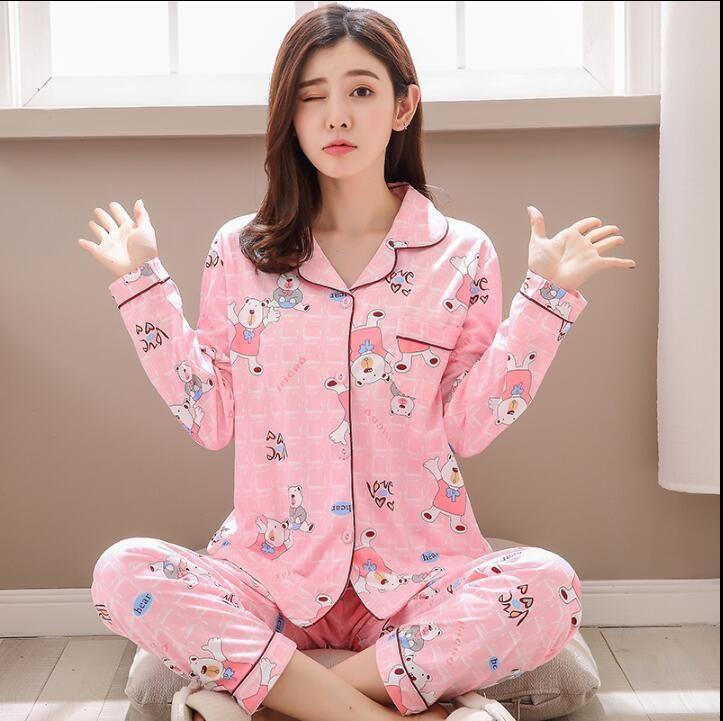 a7efd3f3804f Factory Sale 2018 WAVMIT Women Pajamas Suits Lovely Home Wear Long Sleeve  CottonPyjamas Comfortable Girl Pijamas Mujer Sleepwear S1015 Pyjamas Ladies  Satin ...