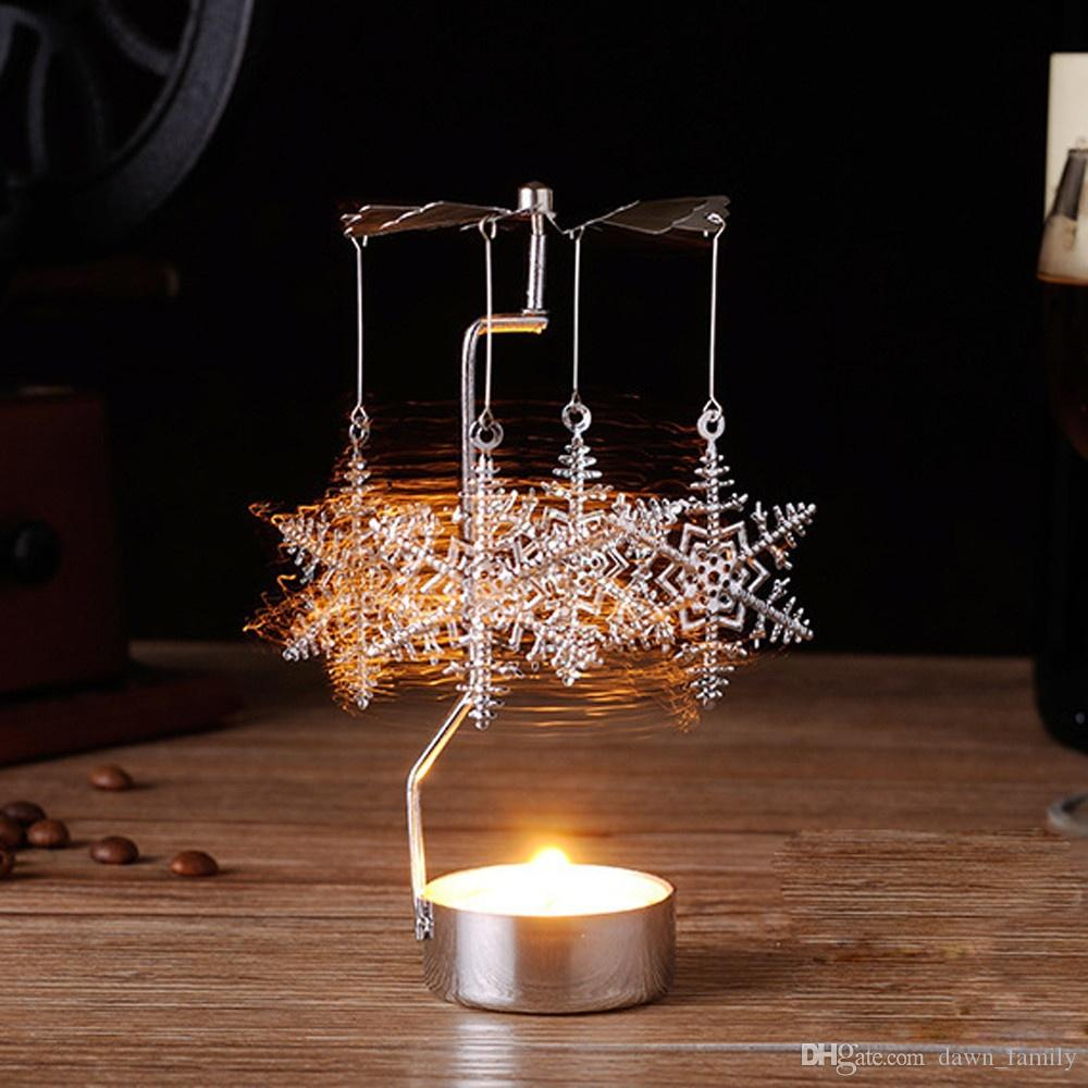 Crazy promotion! Hot Spinning Rotary Metal Carousel Tea Light Candle Holder Stand Light Xmas Gift