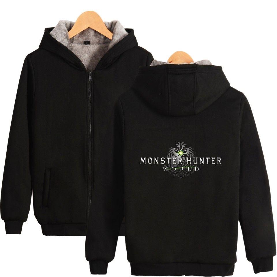 Monster Hunter World Hoodies and Sweatshirts Zipper Mens Winter Super Warm  Fleece Sweatshirts Coats Monster Hunter World