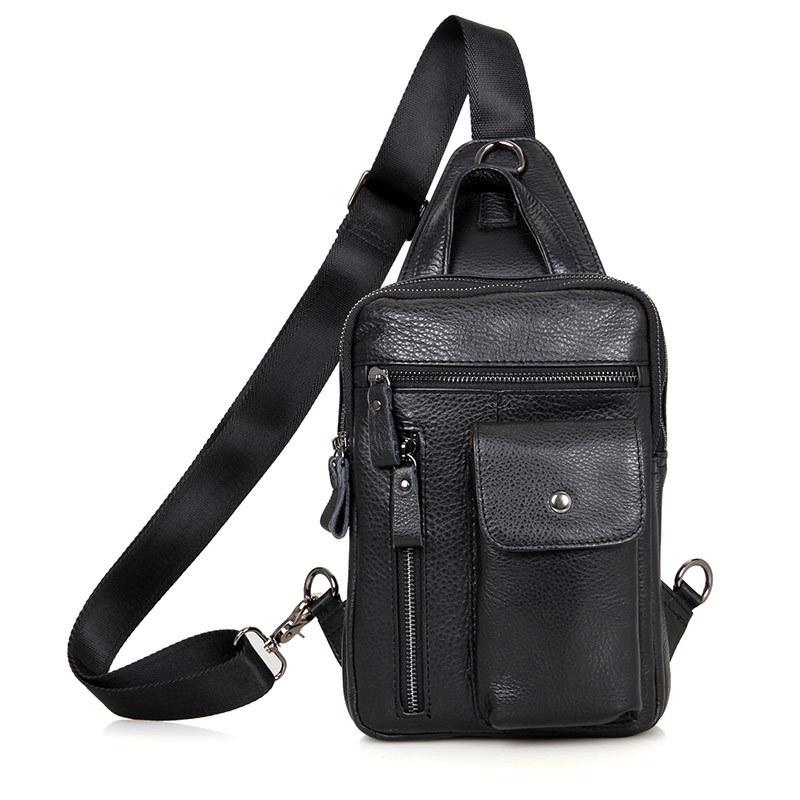57e07ac4a61d Brand Bag Men Chest Pack Single Shoulder Strap Back Bag Genuine Leather  Travel Men Crossbody Bags Vintage Rucksack Chest Handbags Wholesale Purses  For Sale ...